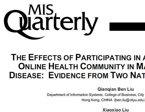 西安交大科研团队《管理信息系统季刊》发文:在线医疗社区有效干预慢性病管理