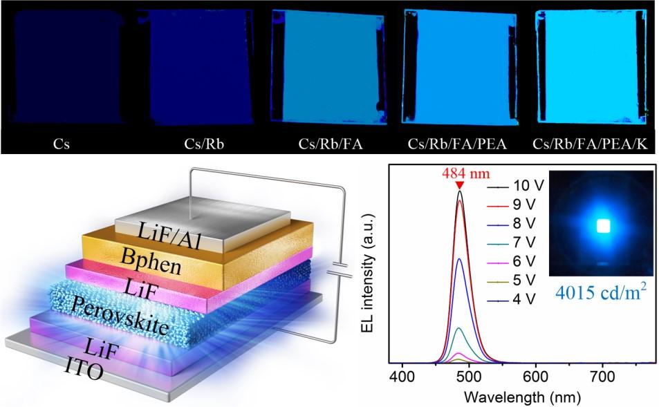 西安交大吴朝新教授团队制备具有高稳定性钙钛矿蓝光电致发光二极管