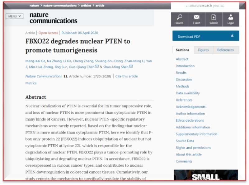 上海交大沈少明博士等在PTEN研究上继续获得新发现