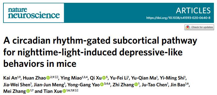 中国科大在夜间光诱导负性情绪研究方面取得进展